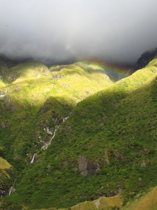 Rainbow diving out of the mountains.