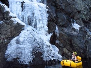 Frozen waterfall on the western edge of Castle Lake, Mount Shasta.