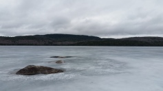 Early May 2016, Lakes still frozen at 1,000 feet.